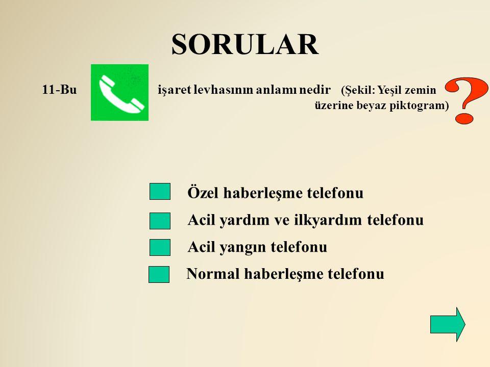SORULAR Özel haberleşme telefonu Acil yardım ve ilkyardım telefonu 11-Bu işaret levhasının anlamı nedir (Şekil: Yeşil zemin üzerine beyaz piktogram) A