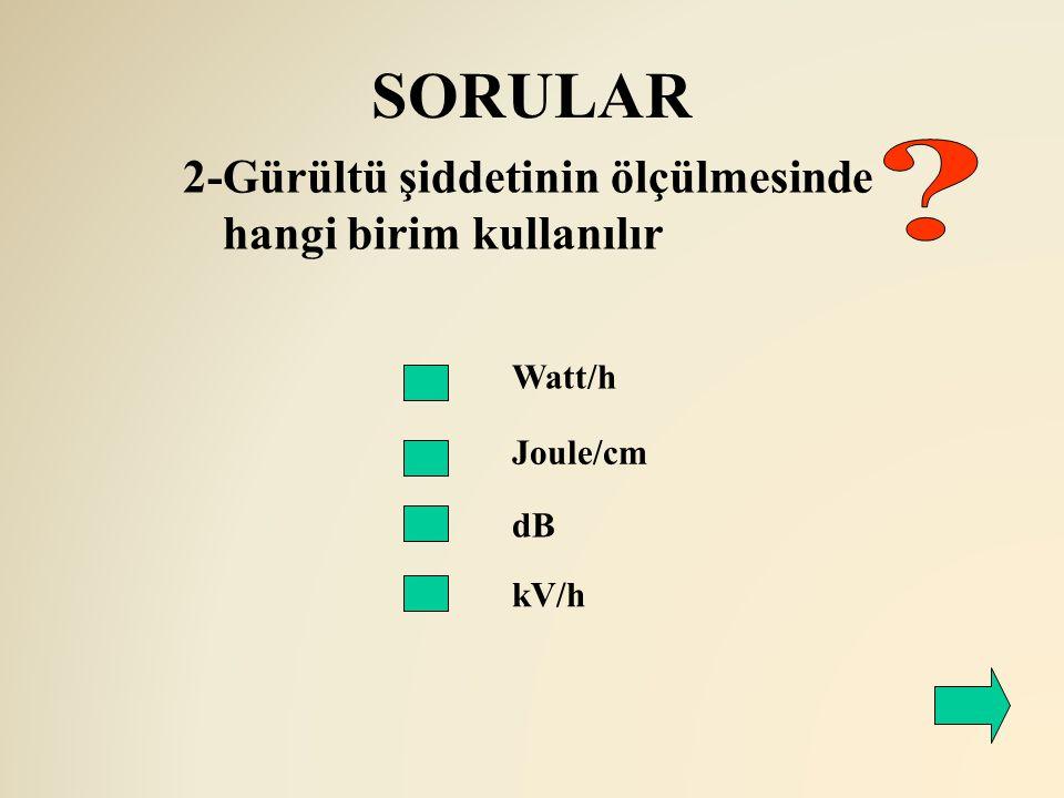 SORULAR Watt/h Joule/cm dB kV/h 2-Gürültü şiddetinin ölçülmesinde hangi birim kullanılır