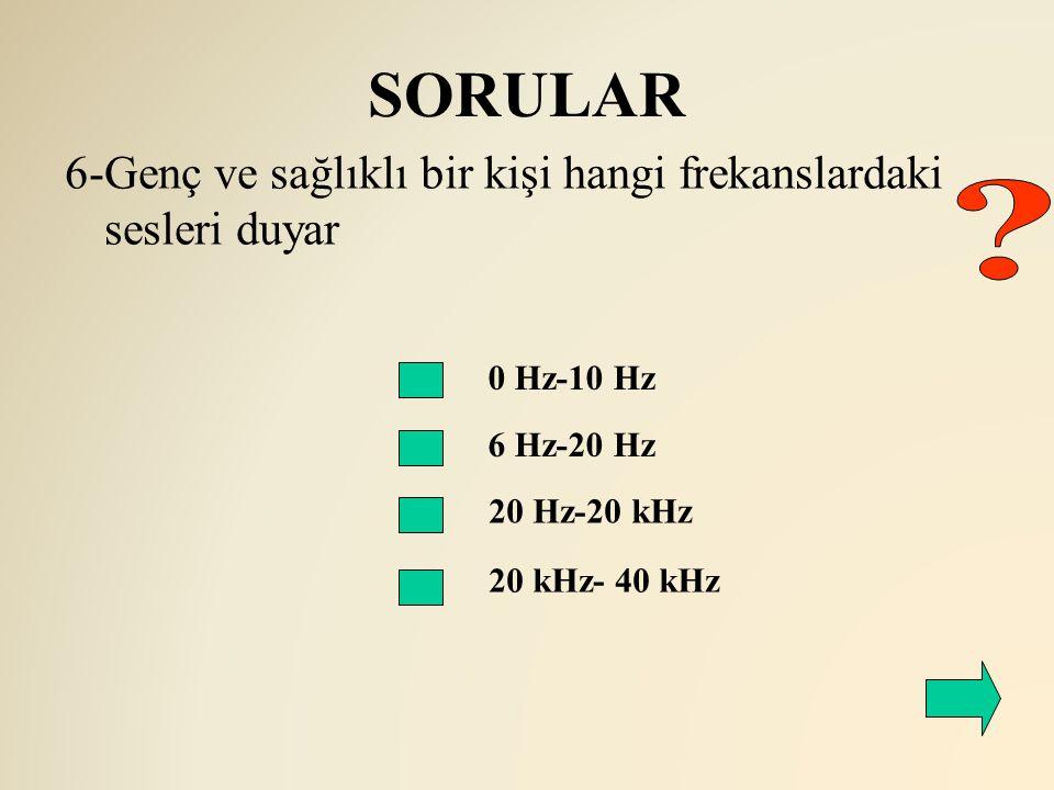 SORULAR 0 Hz-10 Hz 6 Hz-20 Hz 6-Genç ve sağlıklı bir kişi hangi frekanslardaki sesleri duyar 20 Hz-20 kHz 20 kHz- 40 kHz