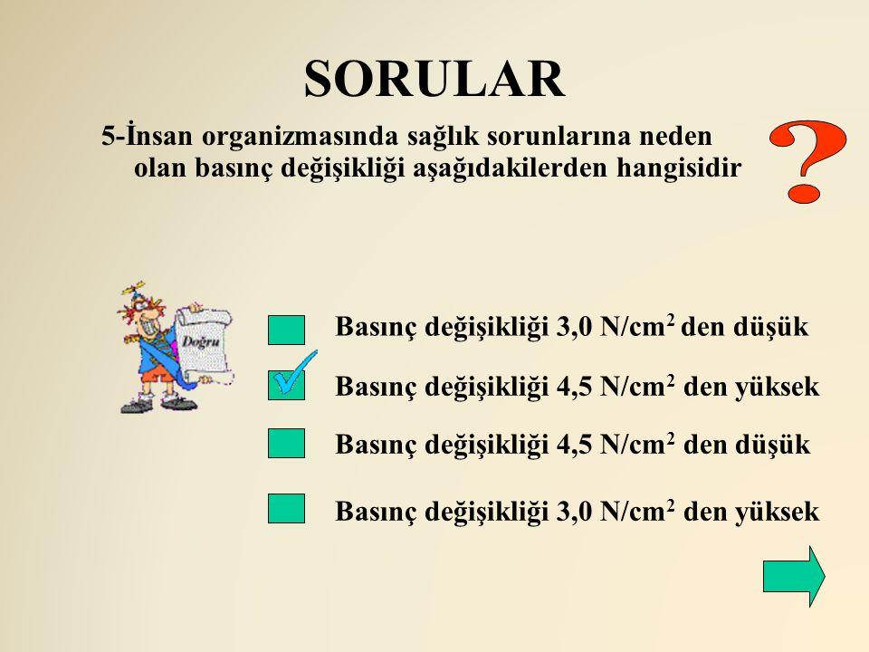 SORULAR Basınç değişikliği 3,0 N/cm 2 den düşük Basınç değişikliği 4,5 N/cm 2 den yüksek Basınç değişikliği 4,5 N/cm 2 den düşük Basınç değişikliği 3,
