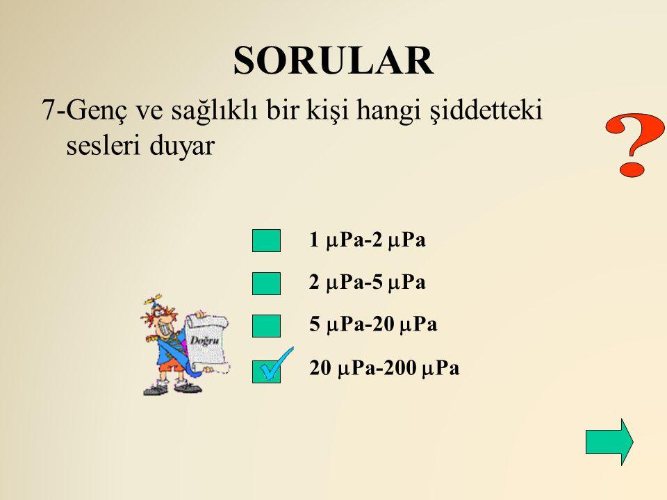 SORULAR 1  Pa-2  Pa 2  Pa-5  Pa 7-Genç ve sağlıklı bir kişi hangi şiddetteki sesleri duyar 5  Pa-20  Pa 20  Pa-200  Pa