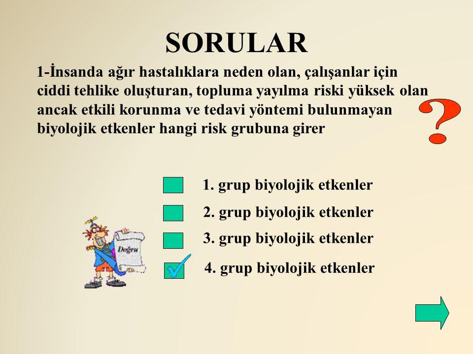 SORULAR 2. grup biyolojik etkenler 3. grup biyolojik etkenler 1-İnsanda ağır hastalıklara neden olan, çalışanlar için ciddi tehlike oluşturan, topluma