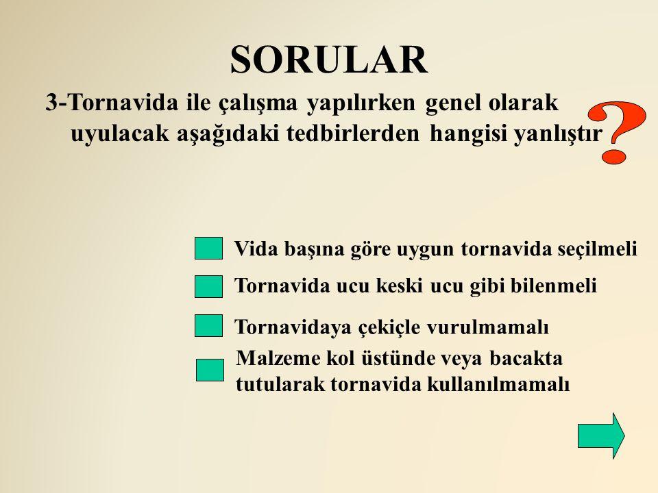 SORULAR Vida başına göre uygun tornavida seçilmeli Tornavida ucu keski ucu gibi bilenmeli 3-Tornavida ile çalışma yapılırken genel olarak uyulacak aşa