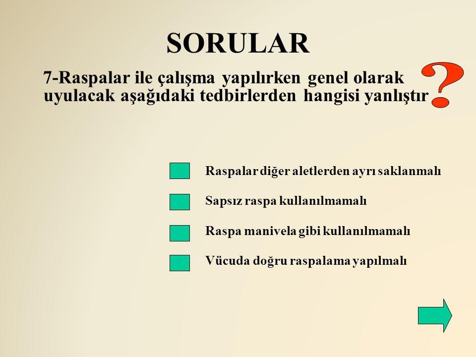 SORULAR 7-Raspalar ile çalışma yapılırken genel olarak uyulacak aşağıdaki tedbirlerden hangisi yanlıştır Raspalar diğer aletlerden ayrı saklanmalı Sap