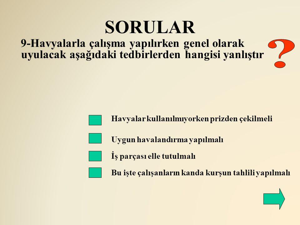 SORULAR Havyalar kullanılmıyorken prizden çekilmeli Uygun havalandırma yapılmalı 9-Havyalarla çalışma yapılırken genel olarak uyulacak aşağıdaki tedbi
