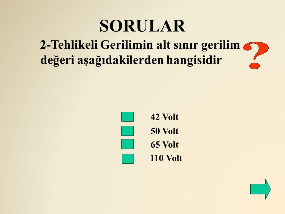 SORULAR 42 Volt 50 Volt 2-Tehlikeli Gerilimin alt sınır gerilim değeri aşağıdakilerden hangisidir 65 Volt 110 Volt
