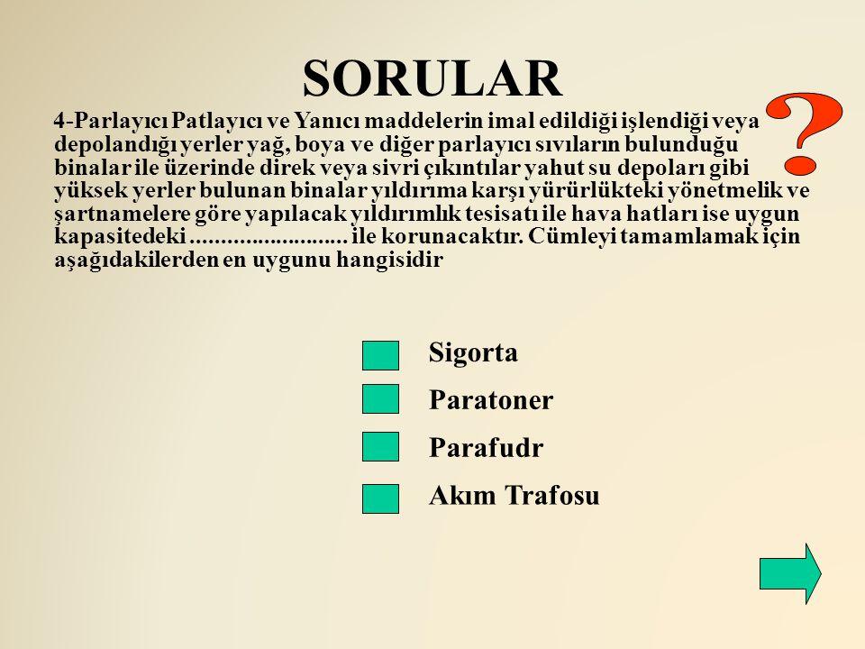 SORULAR Sigorta Paratoner 4-Parlayıcı Patlayıcı ve Yanıcı maddelerin imal edildiği işlendiği veya depolandığı yerler yağ, boya ve diğer parlayıcı sıvı