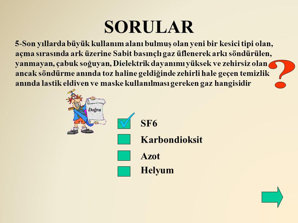 SORULAR SF6 Karbondioksit 5-Son yıllarda büyük kullanım alanı bulmuş olan yeni bir kesici tipi olan, açma sırasında ark üzerine Sabit basınçlı gaz üfl