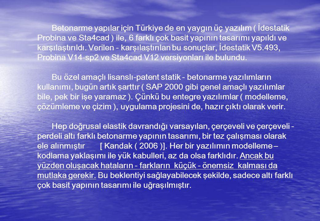 Betonarme yapılar için Türkiye de en yaygın üç yazılım ( İdestatik Probina ve Sta4cad ) ile, 6 farklı çok basit yapının tasarımı yapıldı ve karşılaştırıldı.