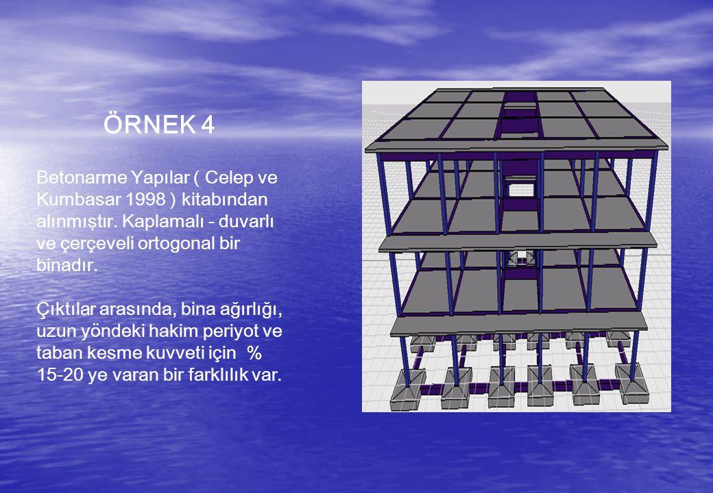 ÖRNEK 4 Betonarme Yapılar ( Celep ve Kumbasar 1998 ) kitabından alınmıştır. Kaplamalı - duvarlı ve çerçeveli ortogonal bir binadır. Çıktılar arasında,