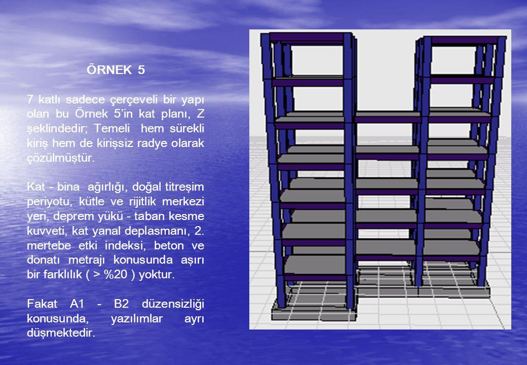 ÖRNEK 5 7 katlı sadece çerçeveli bir yapı olan bu Örnek 5'in kat planı, Z şeklindedir; Temeli hem sürekli kiriş hem de kirişsiz radye olarak çözülmüşt