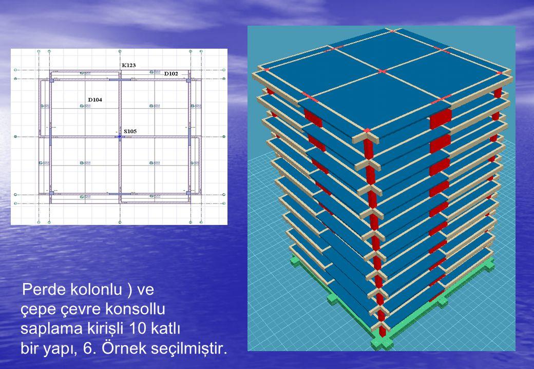 Perde kolonlu ) ve çepe çevre konsollu saplama kirişli 10 katlı bir yapı, 6. Örnek seçilmiştir.