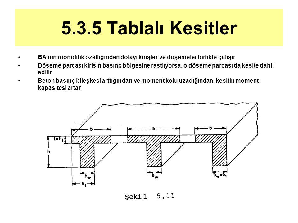 5.3.5 Tablalı Kesitler BA nin monolitik özelliğinden dolayı kirişler ve döşemeler birlikte çalışır Döşeme parçası kirişin basınç bölgesine rastlıyorsa