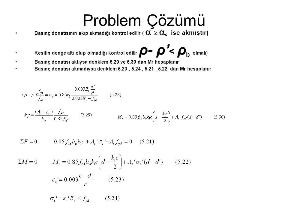 Problem Çözümü Basınç donatısının akıp akmadığı kontrol edilir (    c ise akmıştır) Kesitin denge altı olup olmadığı kontrol edilir ρ- ρ' < ρ b olm