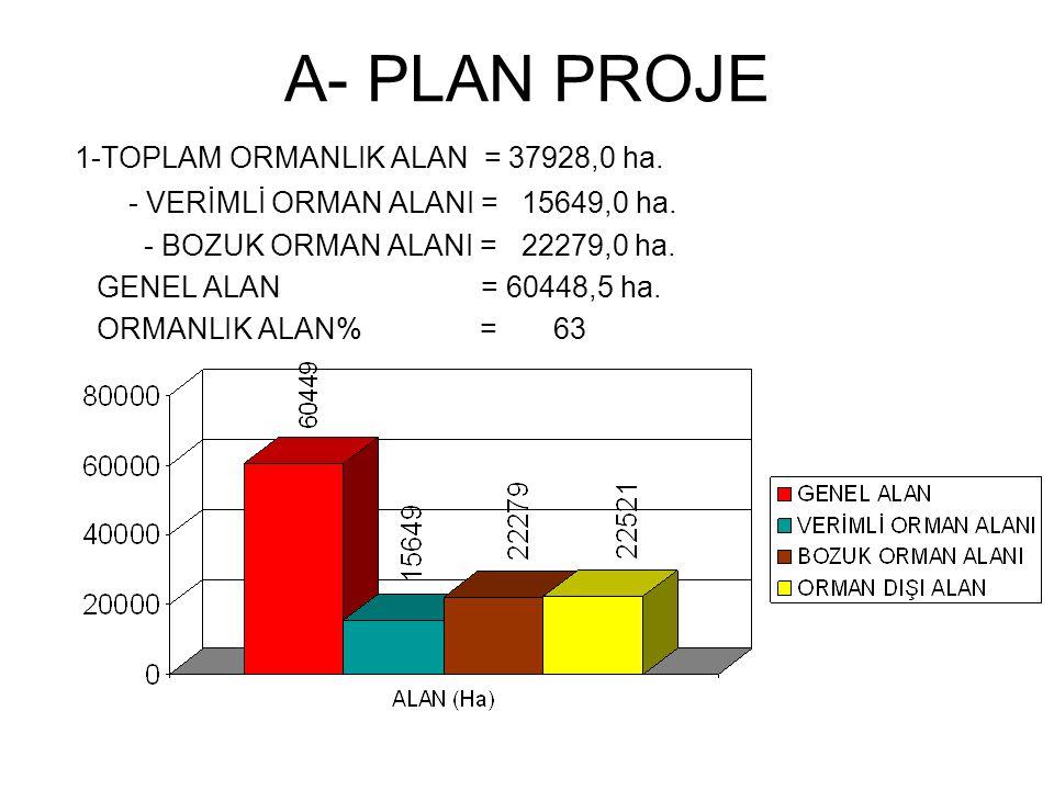 A- PLAN PROJE 1-TOPLAM ORMANLIK ALAN = 37928,0 ha. - VERİMLİ ORMAN ALANI = 15649,0 ha. - BOZUK ORMAN ALANI = 22279,0 ha. GENEL ALAN = 60448,5 ha. ORMA