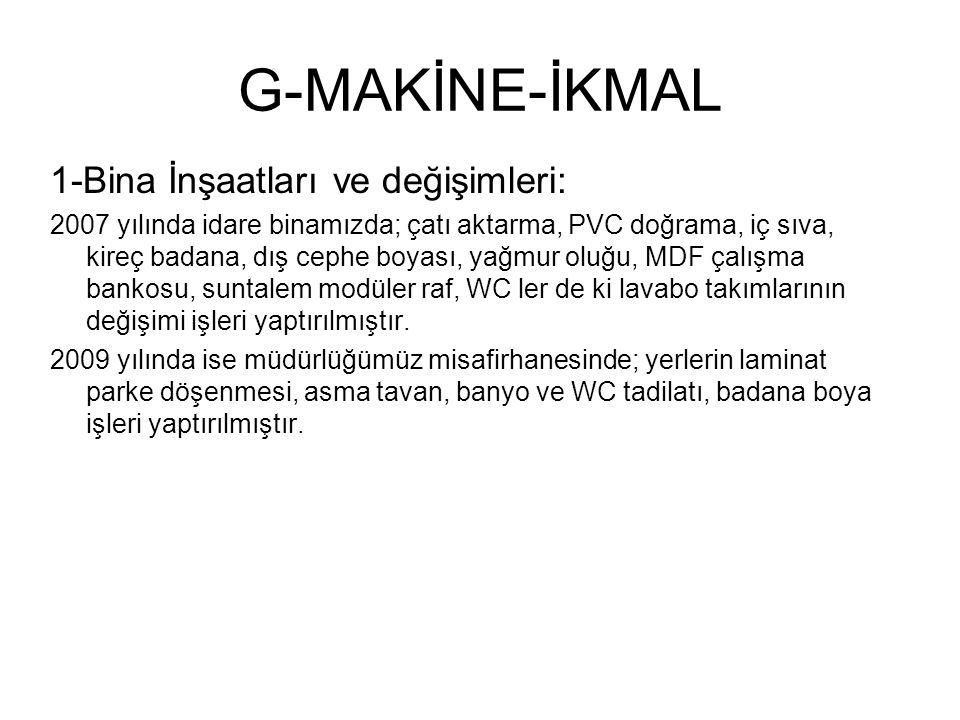 G-MAKİNE-İKMAL 1-Bina İnşaatları ve değişimleri: 2007 yılında idare binamızda; çatı aktarma, PVC doğrama, iç sıva, kireç badana, dış cephe boyası, yağ