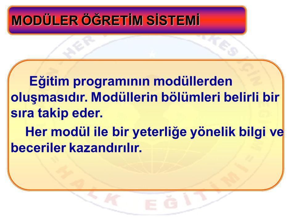 Eğitim programının modüllerden oluşmasıdır.Modüllerin bölümleri belirli bir sıra takip eder.