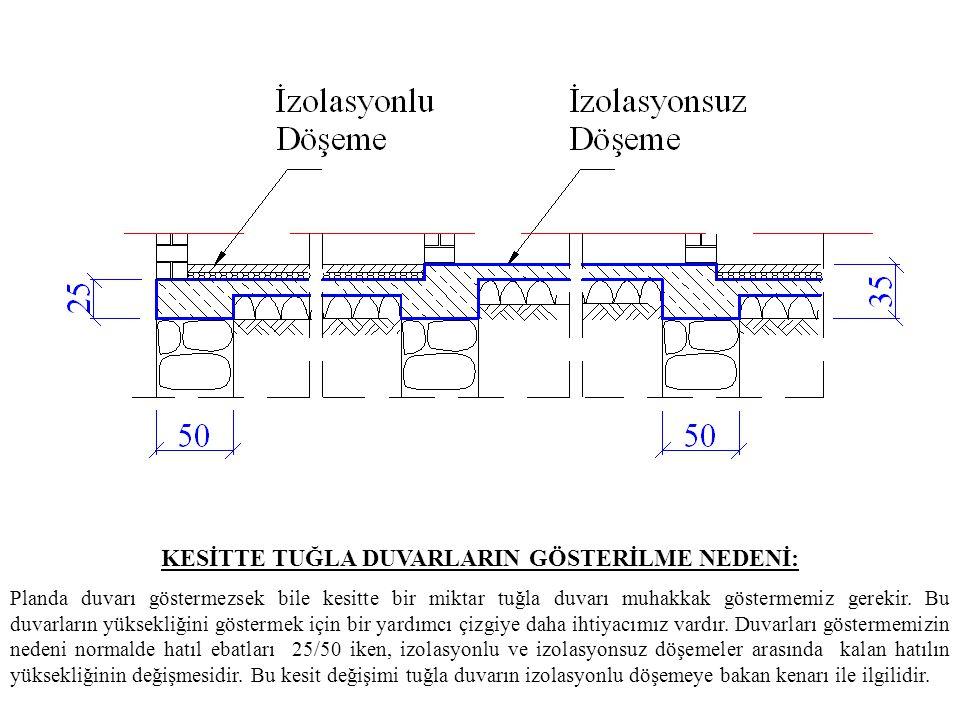 TUĞLA DUVARLARIN ÇİZİMİ: Tuğla duvar kalınlıkları plandan yardımcı çizgilerle taşınarak çizilir.