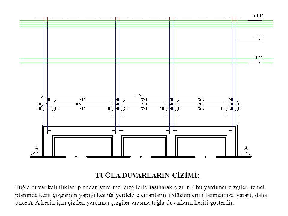 TUĞLA DUVARLARIN ÇİZİMİ: Tuğla duvar kalınlıkları plandan yardımcı çizgilerle taşınarak çizilir. ( bu yardımcı çizgiler, temel planında kesit çizgisin