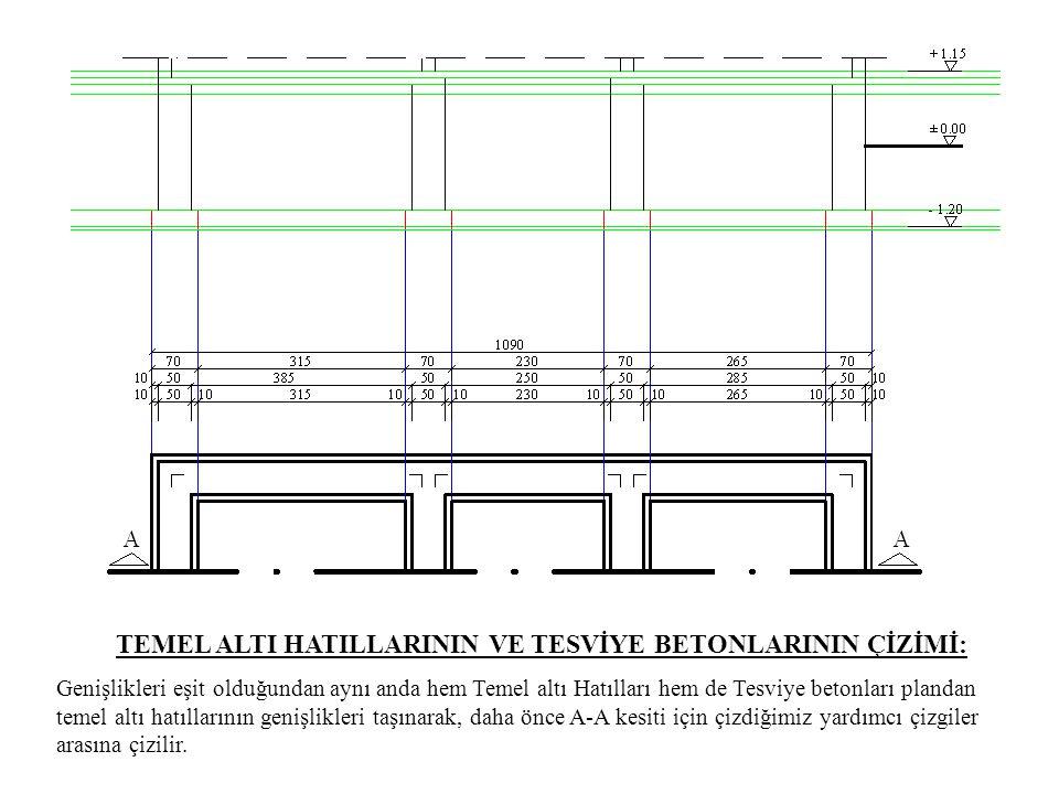 TEMEL ALTI HATILLARININ VE TESVİYE BETONLARININ ÇİZİMİ: Genişlikleri eşit olduğundan aynı anda hem Temel altı Hatılları hem de Tesviye betonları pland