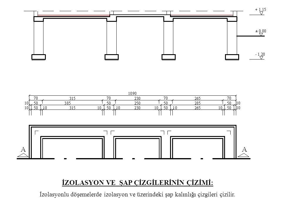 İZOLASYON VE ŞAP ÇİZGİLERİNİN ÇİZİMİ: İzolasyonlu döşemelerde izolasyon ve üzerindeki şap kalınlığı çizgileri çizilir.