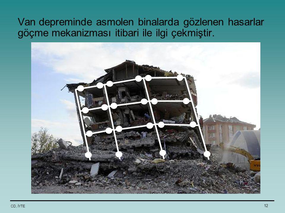 CD, İYTE 12 Van depreminde asmolen binalarda gözlenen hasarlar göçme mekanizması itibari ile ilgi çekmiştir.