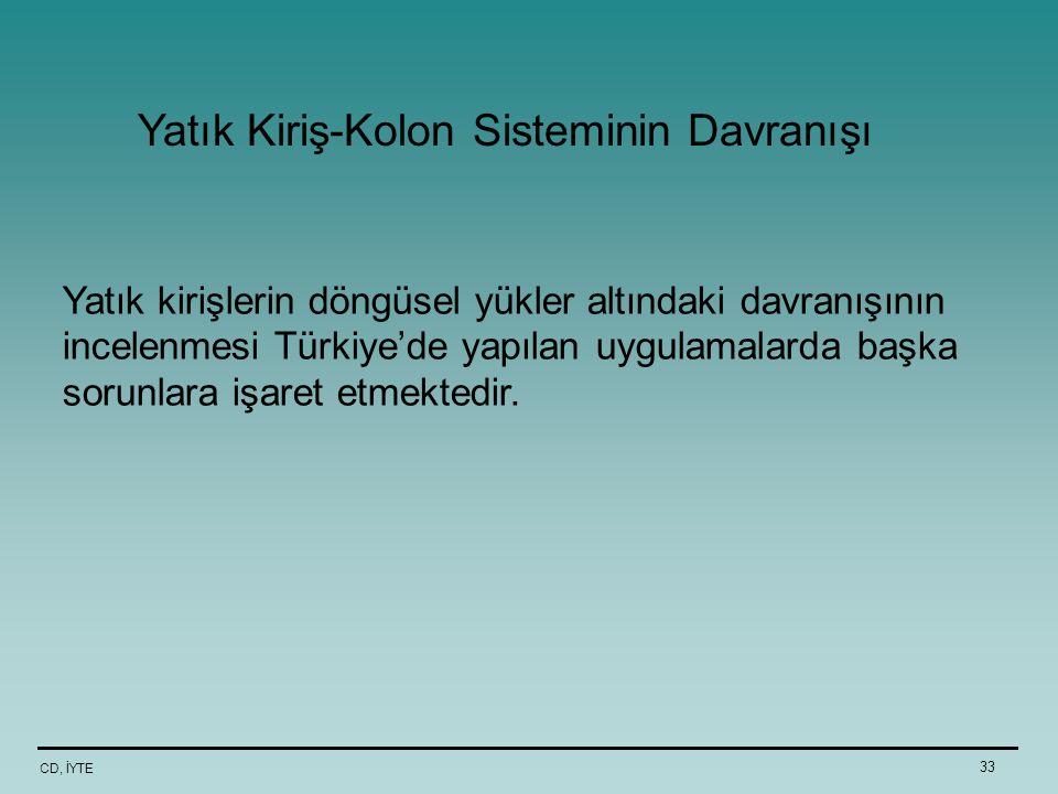 CD, İYTE 33 Yatık kirişlerin döngüsel yükler altındaki davranışının incelenmesi Türkiye'de yapılan uygulamalarda başka sorunlara işaret etmektedir. Ya