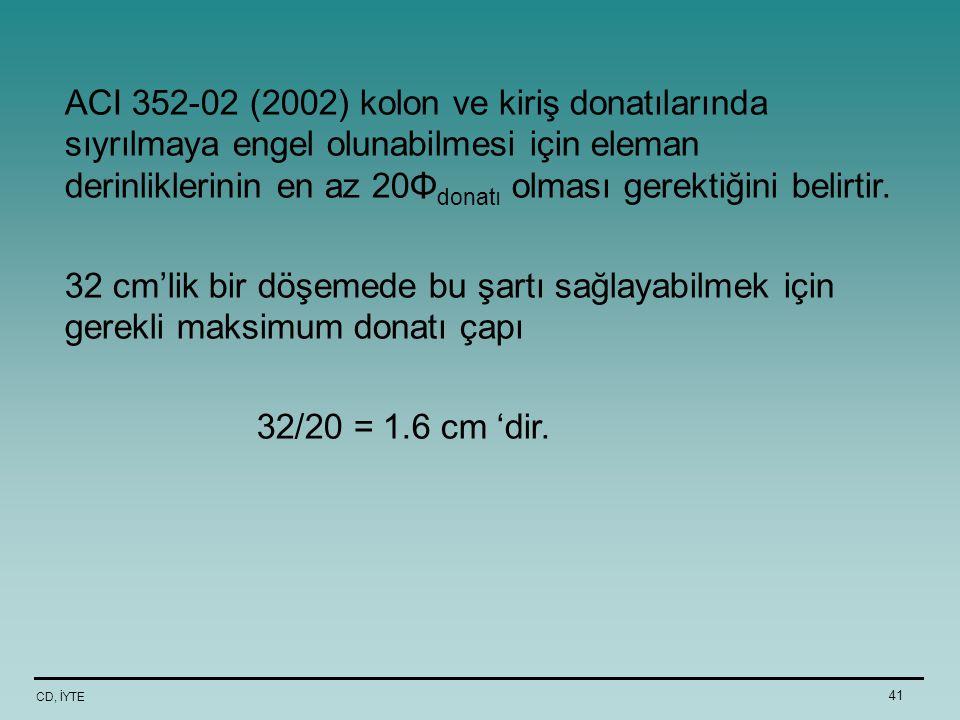 CD, İYTE 41 ACI 352-02 (2002) kolon ve kiriş donatılarında sıyrılmaya engel olunabilmesi için eleman derinliklerinin en az 20Φ donatı olması gerektiği