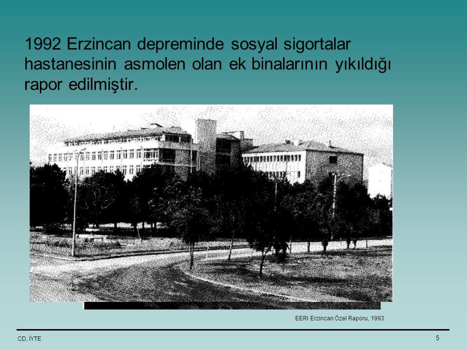 CD, İYTE 5 1992 Erzincan depreminde sosyal sigortalar hastanesinin asmolen olan ek binalarının yıkıldığı rapor edilmiştir. EERI Erzincan Özel Raporu,