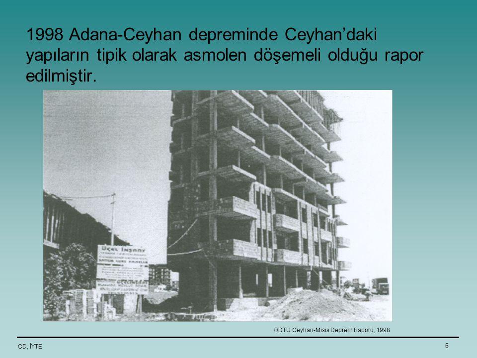 CD, İYTE 6 1998 Adana-Ceyhan depreminde Ceyhan'daki yapıların tipik olarak asmolen döşemeli olduğu rapor edilmiştir. ODTÜ Ceyhan-Misis Deprem Raporu,