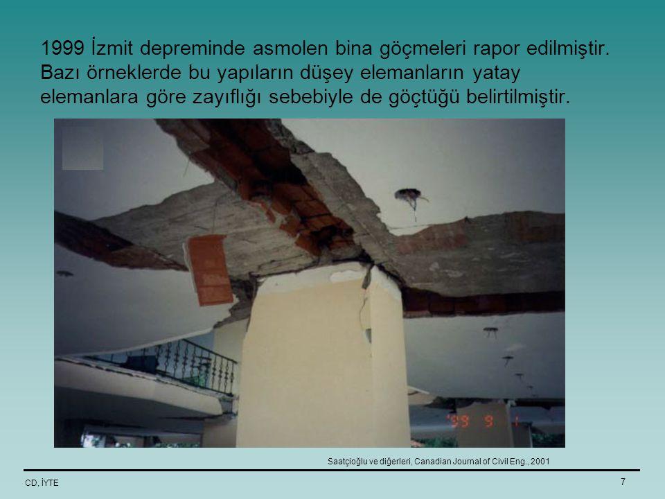 CD, İYTE 7 1999 İzmit depreminde asmolen bina göçmeleri rapor edilmiştir. Bazı örneklerde bu yapıların düşey elemanların yatay elemanlara göre zayıflı