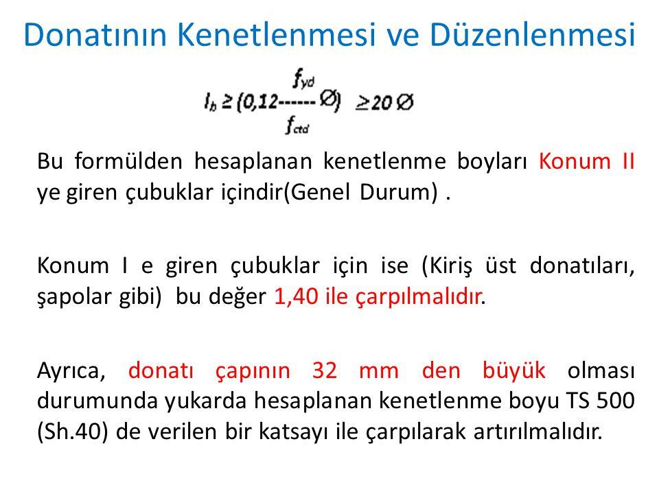 Bu formülden hesaplanan kenetlenme boyları Konum II ye giren çubuklar içindir(Genel Durum). Konum I e giren çubuklar için ise (Kiriş üst donatıları, ş