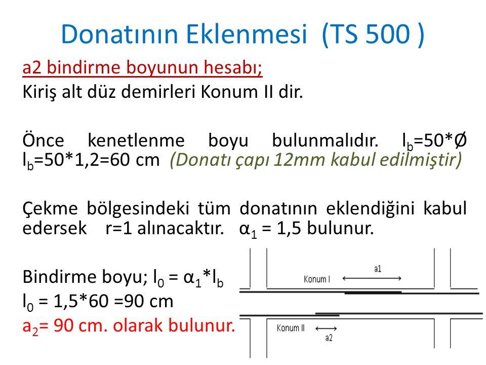 a2 bindirme boyunun hesabı; Kiriş alt düz demirleri Konum II dir. Önce kenetlenme boyu bulunmalıdır. l b =50*Ø l b =50*1,2=60 cm (Donatı çapı 12mm kab