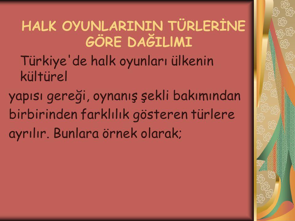 HALK OYUNLARININ TÜRLERİNE GÖRE DAĞILlMI Türkiye de halk oyunları ülkenin kültürel yapısı gereği, oynanış şekli bakımından birbirinden farklılık gösteren türlere ayrılır.