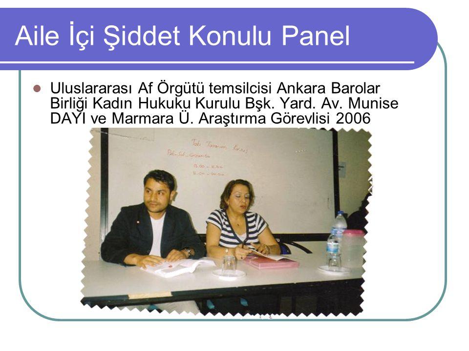 Aile İçi Şiddet Konulu Panel Uluslararası Af Örgütü temsilcisi Ankara Barolar Birliği Kadın Hukuku Kurulu Bşk. Yard. Av. Munise DAYI ve Marmara Ü. Ara