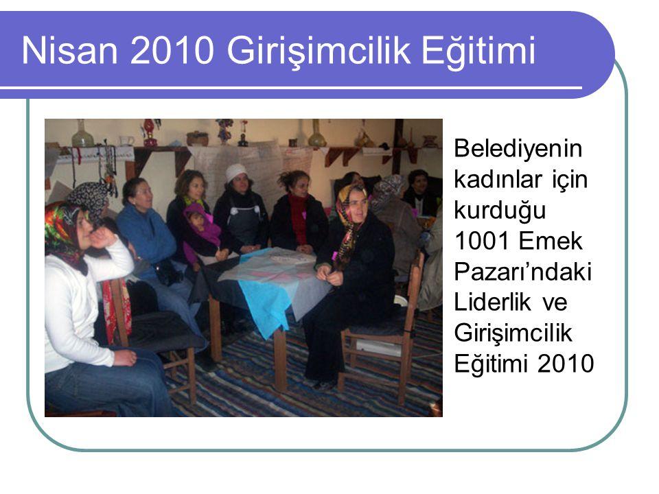 Nisan 2010 Girişimcilik Eğitimi Belediyenin kadınlar için kurduğu 1001 Emek Pazarı'ndaki Liderlik ve Girişimcilik Eğitimi 2010