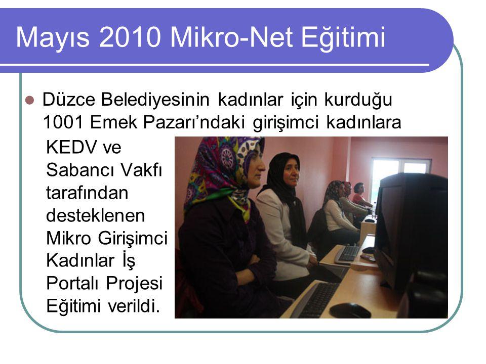 Mayıs 2010 Mikro-Net Eğitimi Düzce Belediyesinin kadınlar için kurduğu 1001 Emek Pazarı'ndaki girişimci kadınlara KEDV ve Sabancı Vakfı tarafından desteklenen Mikro Girişimci Kadınlar İş Portalı Projesi Eğitimi verildi.