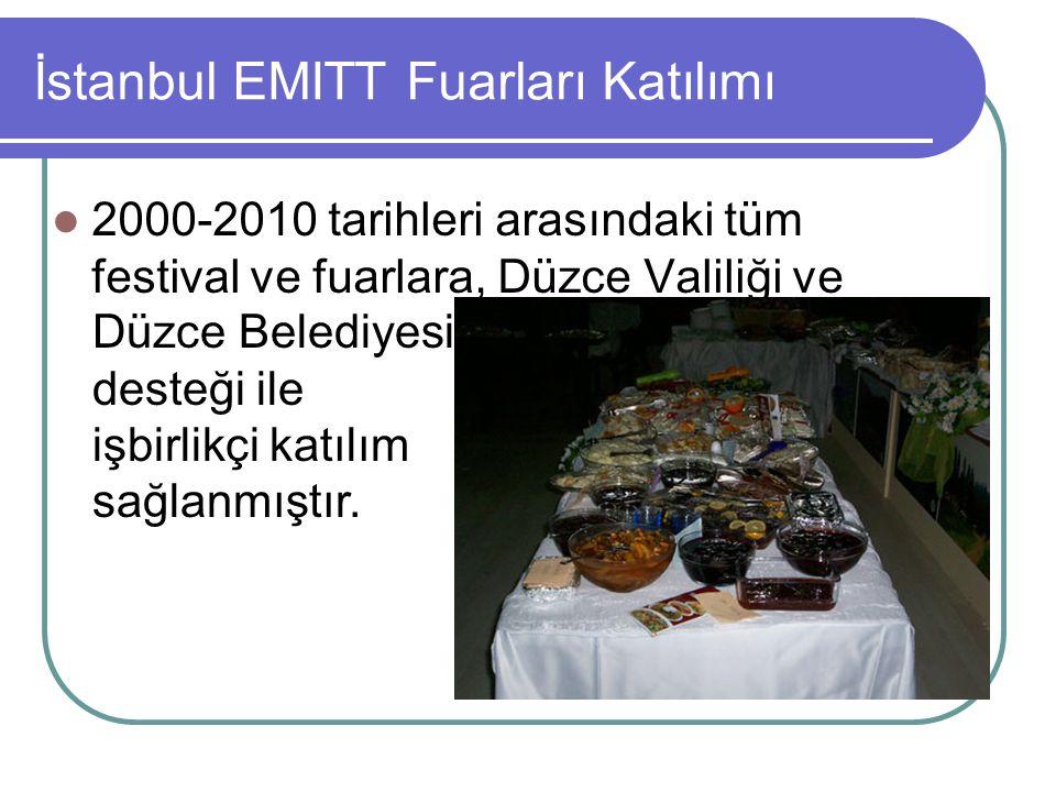 İstanbul EMITT Fuarları Katılımı 2000-2010 tarihleri arasındaki tüm festival ve fuarlara, Düzce Valiliği ve Düzce Belediyesi desteği ile işbirlikçi ka