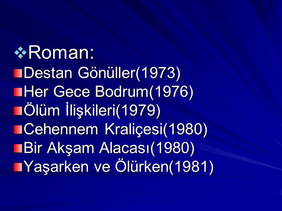  Roman: Destan Gönüller(1973) Her Gece Bodrum(1976) Ölüm İlişkileri(1979) Cehennem Kraliçesi(1980) Bir Akşam Alacası(1980) Yaşarken ve Ölürken(1981)