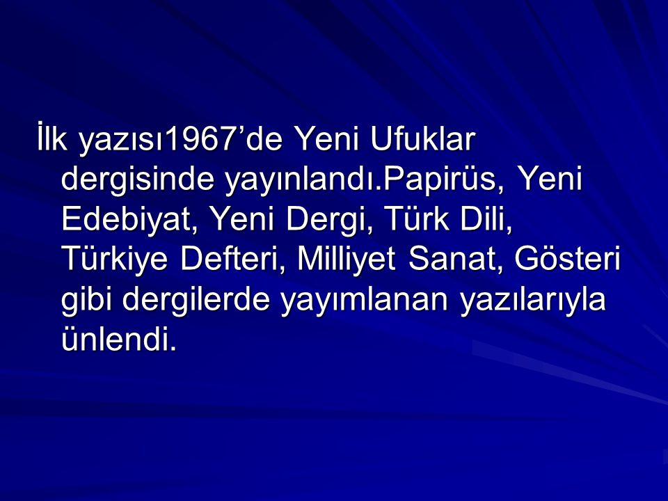 İlk yazısı1967'de Yeni Ufuklar dergisinde yayınlandı.Papirüs, Yeni Edebiyat, Yeni Dergi, Türk Dili, Türkiye Defteri, Milliyet Sanat, Gösteri gibi derg