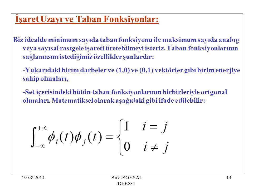 19.08.2014Birol SOYSAL DERS-4 14 İşaret Uzayı ve Taban Fonksiyonlar: Biz idealde minimum sayıda taban fonksiyonu ile maksimum sayıda analog veya sayıs