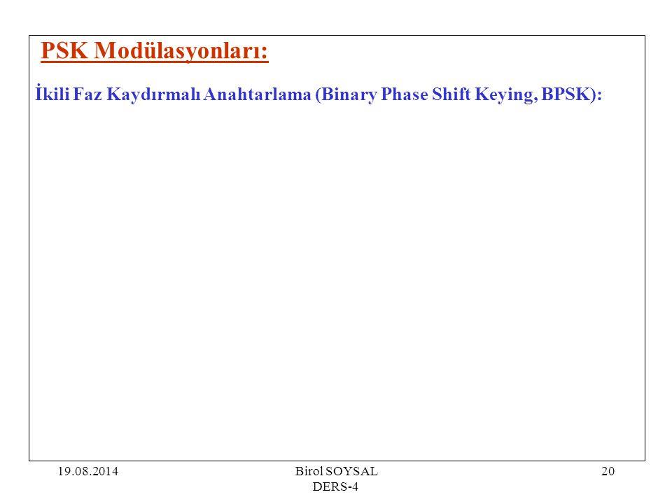 19.08.2014Birol SOYSAL DERS-4 20 PSK Modülasyonları: İkili Faz Kaydırmalı Anahtarlama (Binary Phase Shift Keying, BPSK):