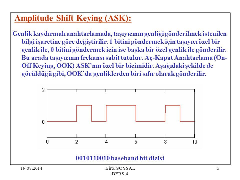 19.08.2014Birol SOYSAL DERS-4 3 Amplitude Shift Keying (ASK): Genlik kaydırmalı anahtarlamada, taşıyıcının genliği gönderilmek istenilen bilgi işareti