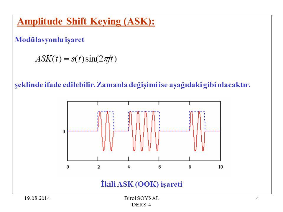 19.08.2014Birol SOYSAL DERS-4 4 Amplitude Shift Keying (ASK): Modülasyonlu işaret şeklinde ifade edilebilir. Zamanla değişimi ise aşağıdaki gibi olaca