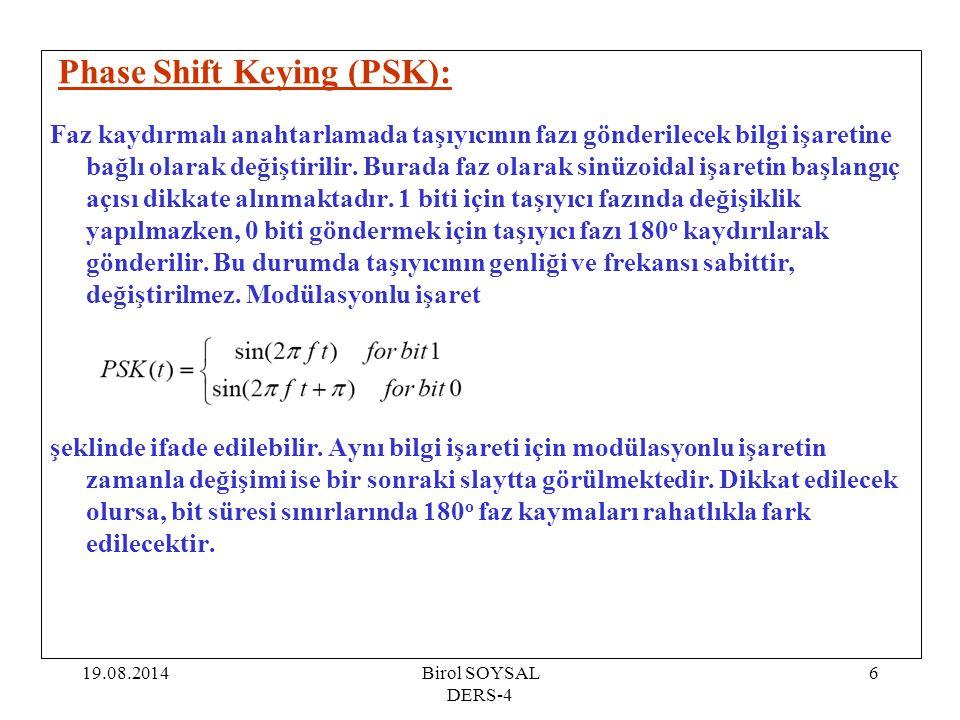 19.08.2014Birol SOYSAL DERS-4 6 Phase Shift Keying (PSK): Faz kaydırmalı anahtarlamada taşıyıcının fazı gönderilecek bilgi işaretine bağlı olarak deği