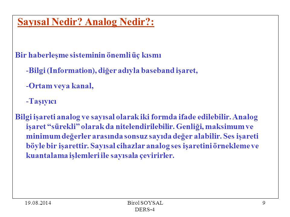 19.08.2014Birol SOYSAL DERS-4 9 Sayısal Nedir? Analog Nedir?: Bir haberleşme sisteminin önemli üç kısmı -Bilgi (Information), diğer adıyla baseband iş