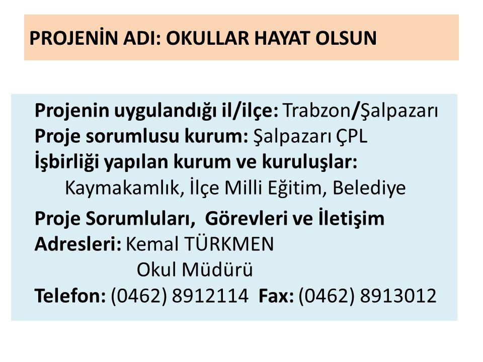 PROJENİN ADI: OKULLAR HAYAT OLSUN Projenin uygulandığı il/ilçe: Trabzon/Şalpazarı Proje sorumlusu kurum: Şalpazarı ÇPL İşbirliği yapılan kurum ve kuru