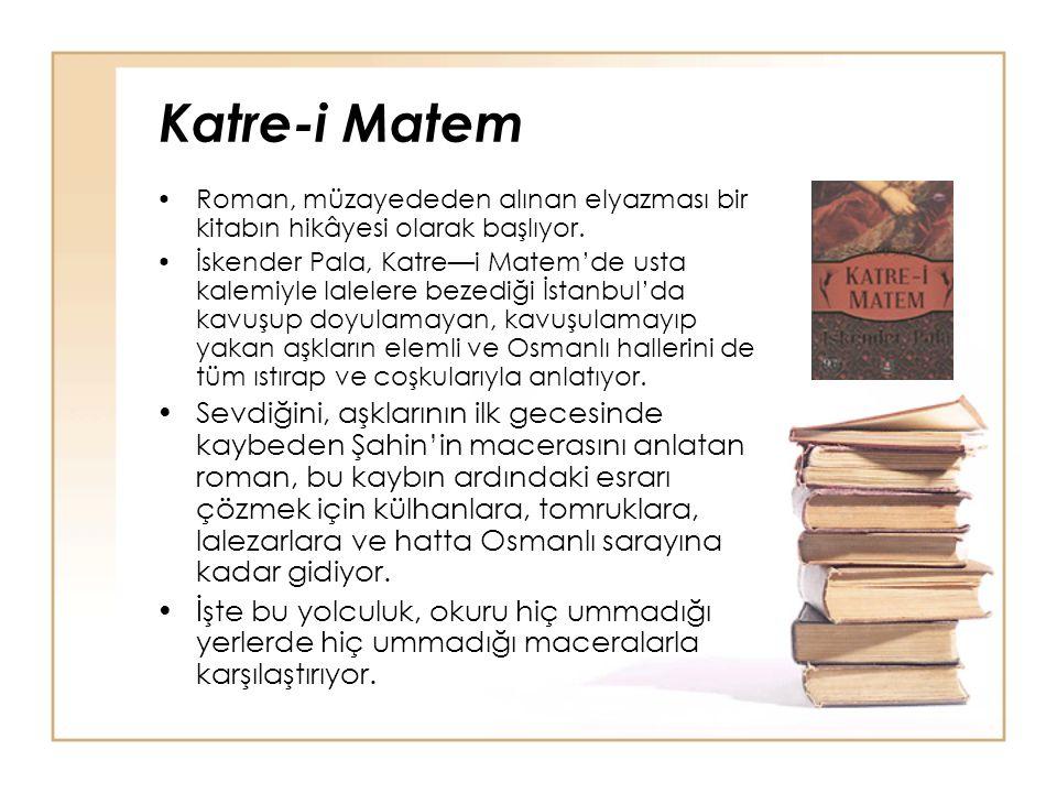Katre-i Matem Roman, müzayededen alınan elyazması bir kitabın hikâyesi olarak başlıyor. İskender Pala, Katre—i Matem'de usta kalemiyle lalelere bezedi
