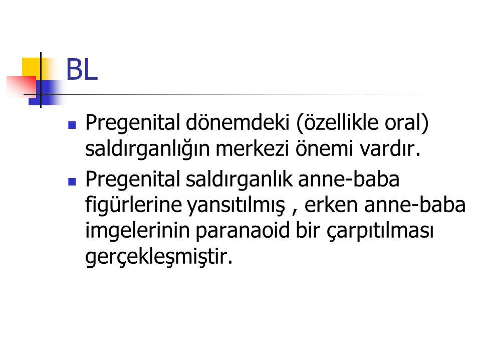 BL Pregenital dönemdeki (özellikle oral) saldırganlığın merkezi önemi vardır. Pregenital saldırganlık anne-baba figürlerine yansıtılmış, erken anne-ba
