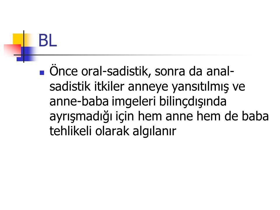 BL Önce oral-sadistik, sonra da anal- sadistik itkiler anneye yansıtılmış ve anne-baba imgeleri bilinçdışında ayrışmadığı için hem anne hem de baba te